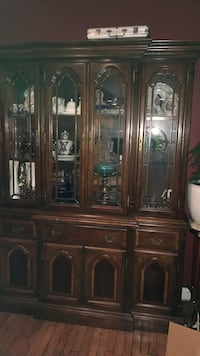 brown wooden framed glass china cabinet Woodbridge, 22192