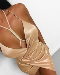 OH POLLY-BRAID UP MY MIND SATIN HARNESS WRAP DRESS IN NUDE Toronto, M4A