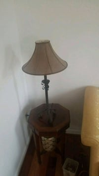 brown wooden base with white lampshade table lamp