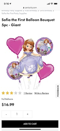 Sofia the first balloons 5 pieces