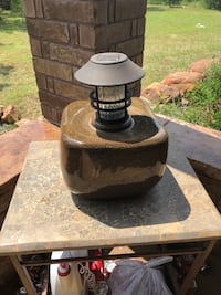 Ceramic base with solar light built in and matching ceramic base with custom floral arrangement Weatherford