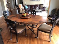 """Arhaus Copper Dining Table & 6 Matching Chairs. Retails for over $5,000 in excellent condition. 44"""" x75"""". Includes copper lazy Susan and 6 copper place mats Haymarket, VA 20169, USA"""