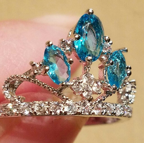 New! SALE $5 Off Aquamarine Topaz Crown Ring With  168ac9a9-b060-44e9-9563-3178af3998f6