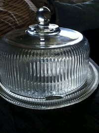 Glass Cake Plate and Dome  London