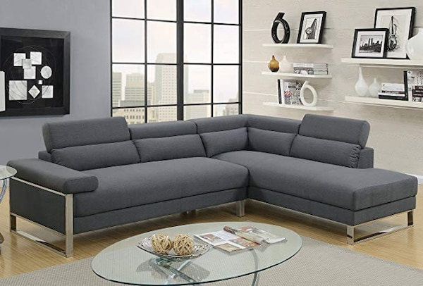 Amazing Gray Fabric Sectional Sofa With Ottoman Gmtry Best Dining Table And Chair Ideas Images Gmtryco