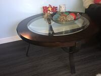 round brown wooden framed glass top coffee table Frederick, 21702