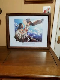 native american painting with brown wooden frame Amarillo