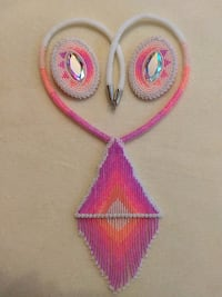 Neon Sunset Beaded Medallion and Earrings Vancouver, 98661