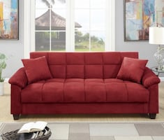 BNEW COMFY RED SOFABED WITH STORAGE