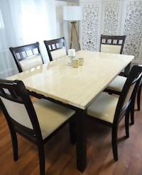 White Dining Set Dining room table 6 chairs NEW
