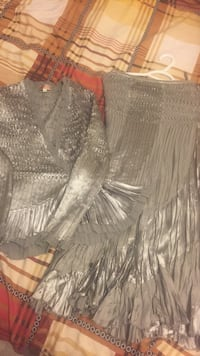 Women's gray long-sleeved sweetheart blouse and maxi skirt. Edmonton, T6L 5S4