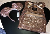 Disney Loungefly Rosegold Backpack Purse & Matching Minnie Ears New Romeoville, 60446