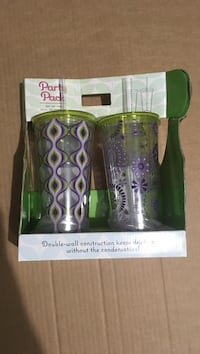 purple, white, and black Party Pack double wall drinking cup with lid and straw Kingsport, 37660