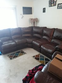 brown leather sectional couch and recliner chair 608 mi