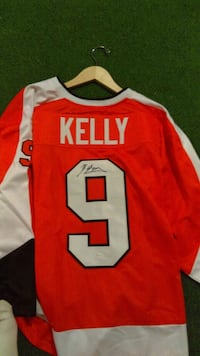 Flyers Orange and White  #9 Bob Kelly jersey Autographed  Pennsburg, 18073