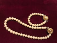 Chanel Beautiful Vintage Pearl Necklace & Bracelet w/ Sterling Silver buttons TORONTO