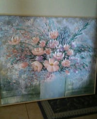 4' x 5' painting of pink and purple flower.   OBO