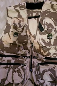 white and brown camouflage backpack