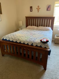 Wooden bed, mattress and spring box included