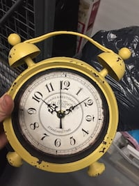yellow Old Town twin bell alarm clock