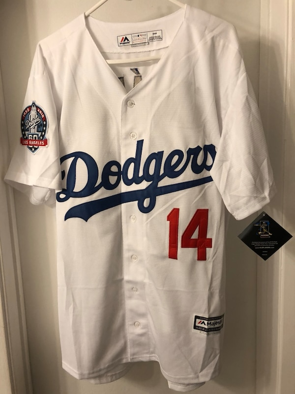 newest 3c2fd 78c56 Brand New White Cool Base Kike Hernandez Dodgers 60th Anniversary Patch  Jersey Size 2XL & 3XL
