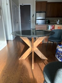 Glass, Concrete and wood round table - 3ft