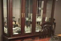 Brown wooden china cabinet