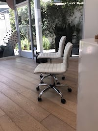Armless White Ribbed Swivel Chairs (two) West Hollywood, 90069