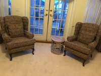 two brown wooden framed gray padded armchairs Surrey, V3W 1G7
