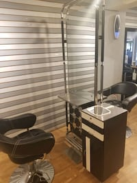 Double sided mirrors for salon.
