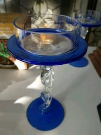 blue and cut glass candle holder