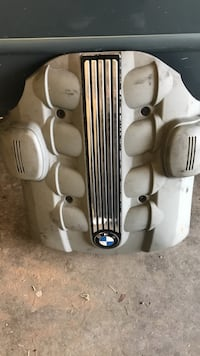 white and gray BMW car  part