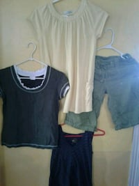 young girls clothes 3 tops one pair of green cargo shorts Niagara Falls, L2G 7G4