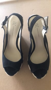 Shoes: I.N.C. Black suede leather sandal style with 51/2 inch wedge heels Fulshear, 77441