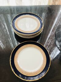 8 Royal Worcester England dinner plates cobalt regency blue/gold