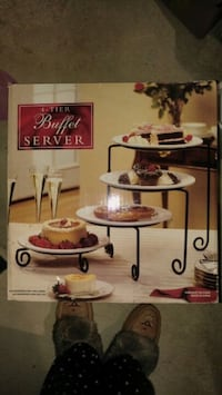 Beautiful for tiered cake stand including four large beautiful plates Mississauga, L5M 7P2