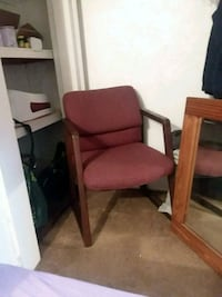 brown wooden framed red padded armchair Camden, 08104