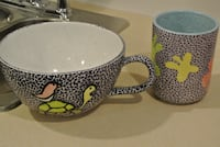 Unique Hand Crafted Large Bowl and Cup Set Calgary