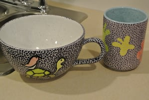 Unique Hand Crafted Large Bowl and Cup Set