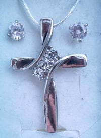 White gold plated cross and earrings Baltimore, 21224