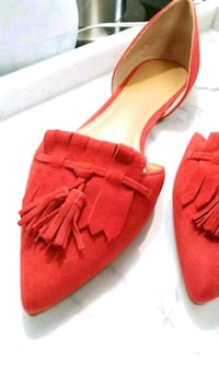J Crew Red Suede D'orsay Loafer Flat Shoe 7
