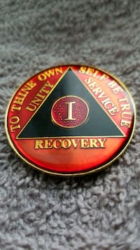 Recovery Coin, Gold w/baked enamel colored markings  Portland, 97213