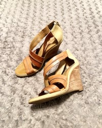 Luxury Rebel tan wedges paid $120 size 7