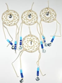 White-and-blue beaded dreamcatchers, anchor dreamcatcher 8 km