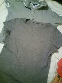 grey scoop-neck t-shirt and gray up-zip polo shirt