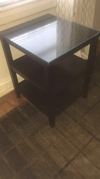 Dark Wood side table with glass top Elmont, 11003