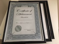 three black wooden frame certificate of achievement Alexandria, 22311