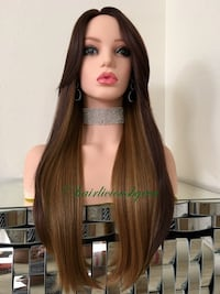 24 inch long straight with bangs wig dark roots balayage golden brown 100 percent synthetic high temperature fiber heat resistant low medium heat  Las Vegas, 89144
