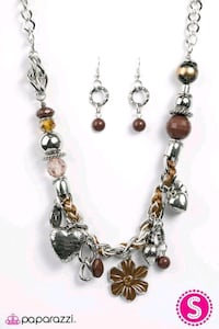 brown-amber-and-silver-colored charm jewelry set Lawrenceville, 30043