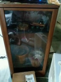 brown wooden framed glass display cabinet Bay City, 48708